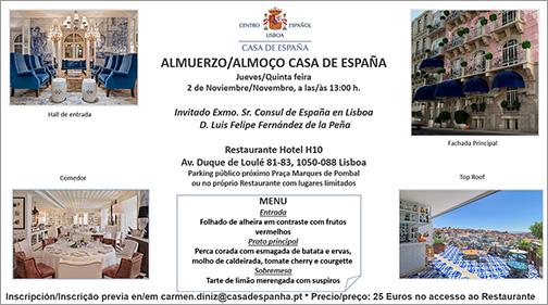 Almuerzo Casa de España – Restaurante Hotel H10 – Jueves 2 de Noviembre
