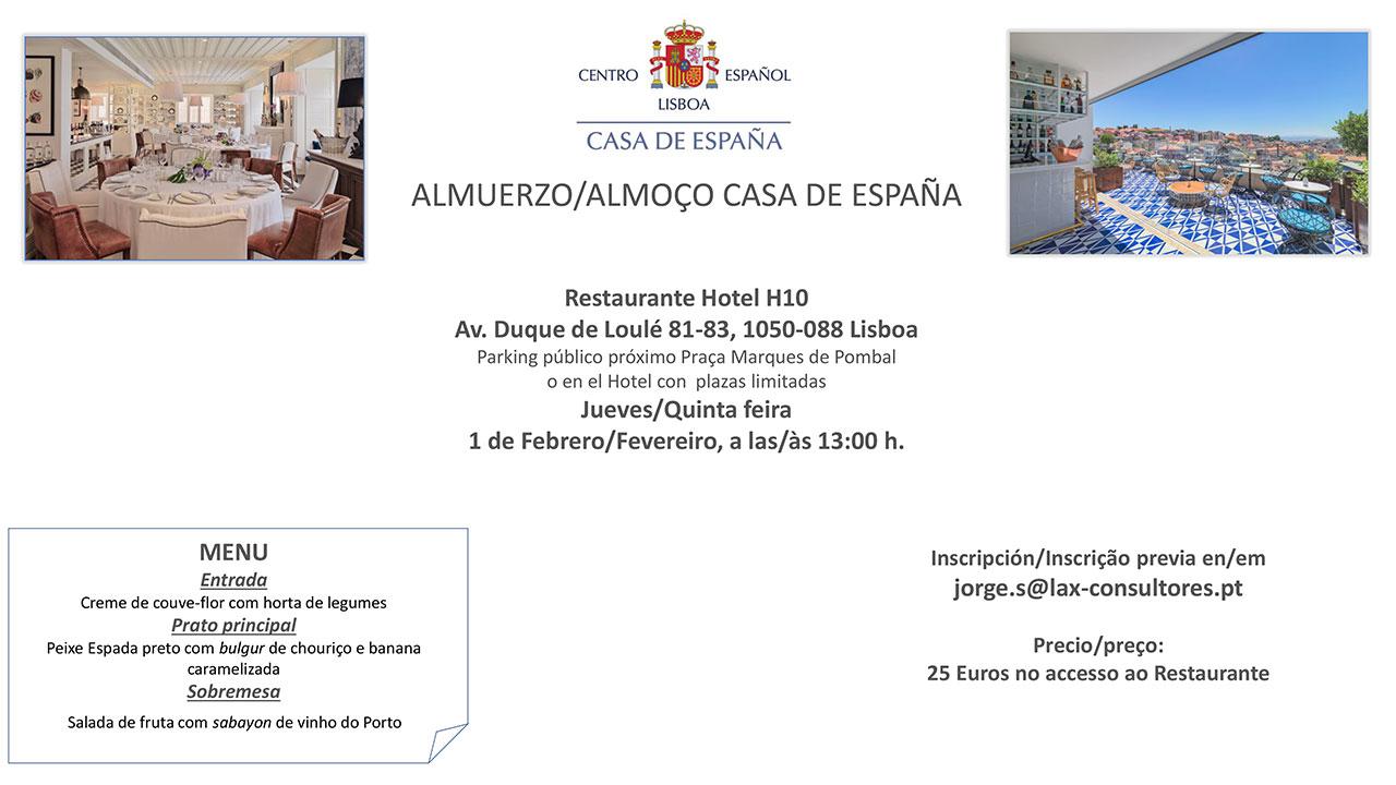 Almuerzo Casa de España - Restaurante Hotel H10 - Jueves 1 de Febrero