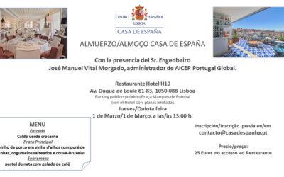 Almuerzo Casa de España – Restaurante Hotel H10 – Jueves 1 de Marzo
