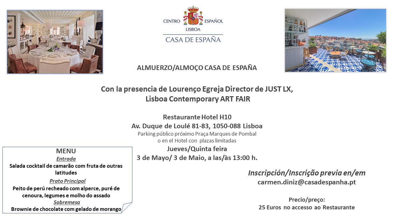 Almuerzo Casa de España – Restaurante Hotel H10 – Jueves 3 de Mayo