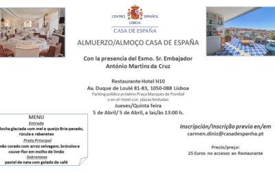 Almuerzo Casa de España – Restaurante Hotel H10 – Jueves 5 de Abril
