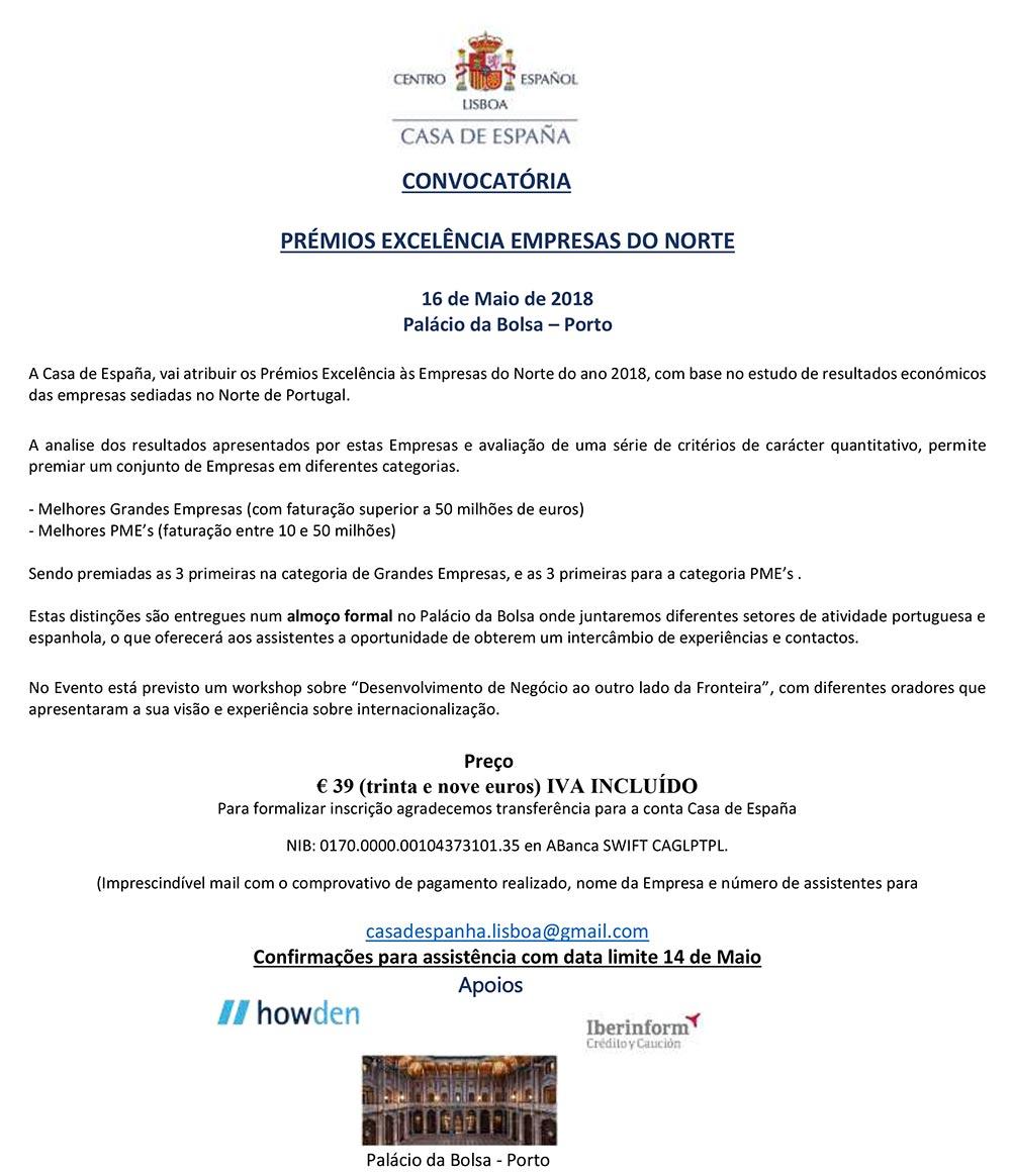 La Casa de España convoca su Premio Excelencia Empresas del Norte en Oporto el próximo dia 16 de Mayo en el Palácio de la Bolsa