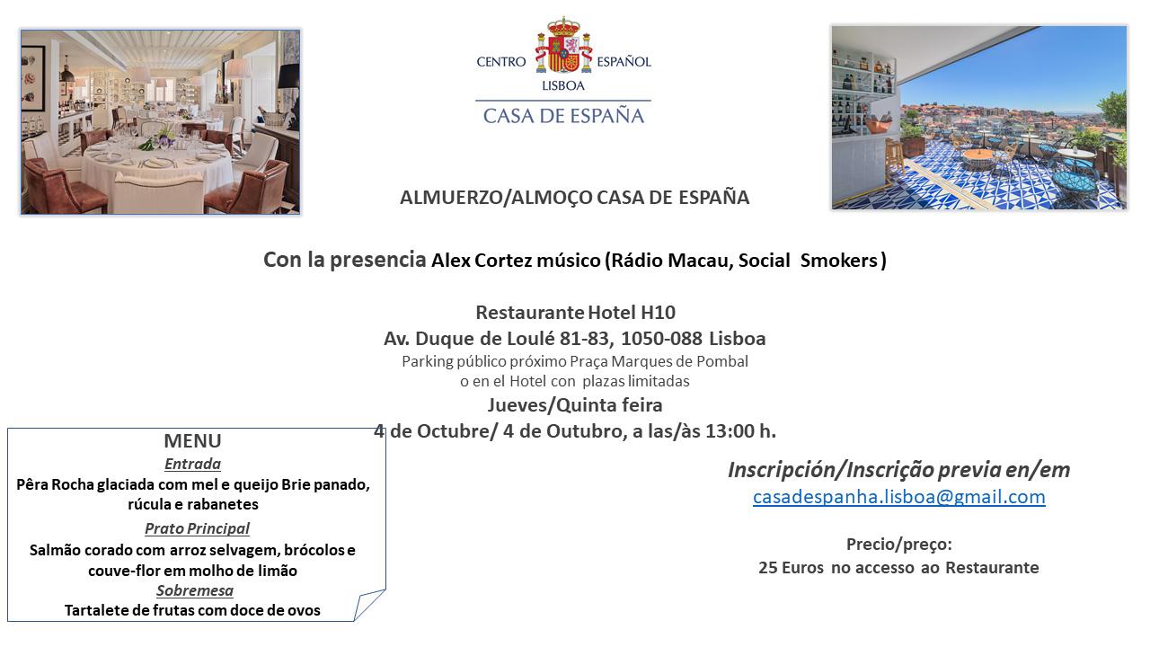 Almuerzo del 4 de Octubre con la presencia de Alex Cortez músico (Rádio Macau, Social Smokers)