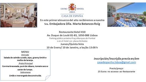 Almuerzo del 10 de Enero – Casa de España – Restaurante Hotel H10