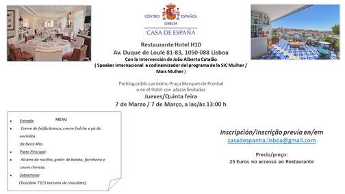 Almuerzo del 7 de Marzo - Casa de España - Restaurante Hotel H10