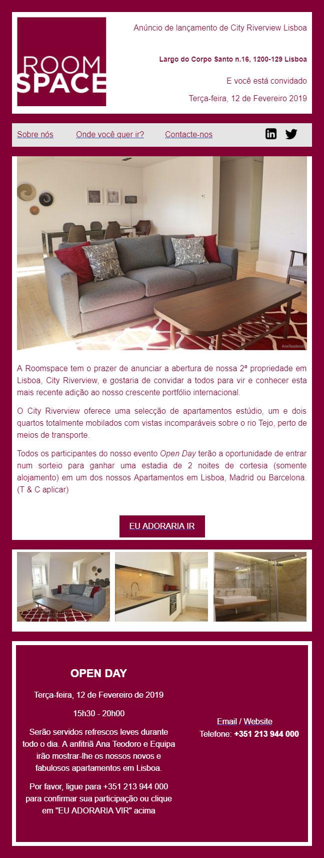 Anúncio de lançamento de City Riverview Lisboa