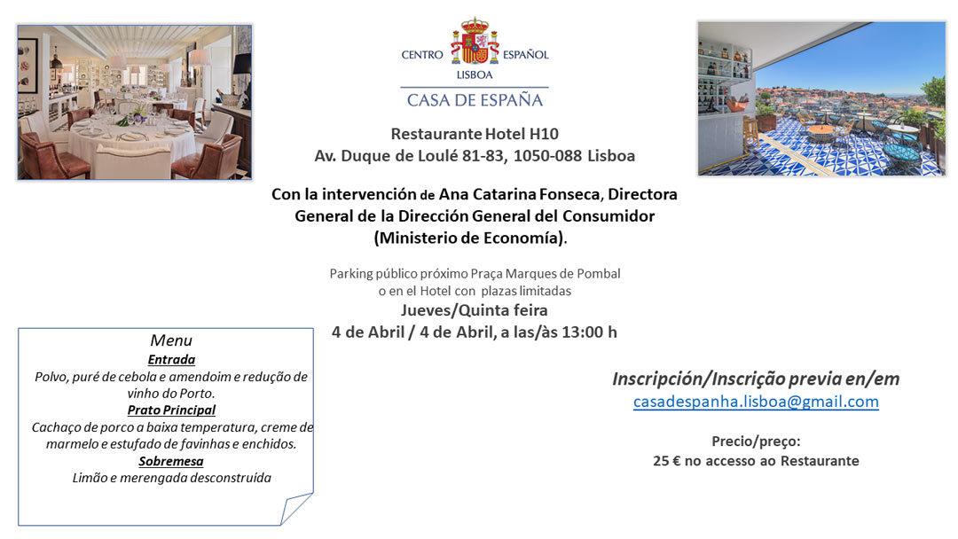 Almuerzo del 4 de Abril – Casa de España – Restaurante Hotel H10