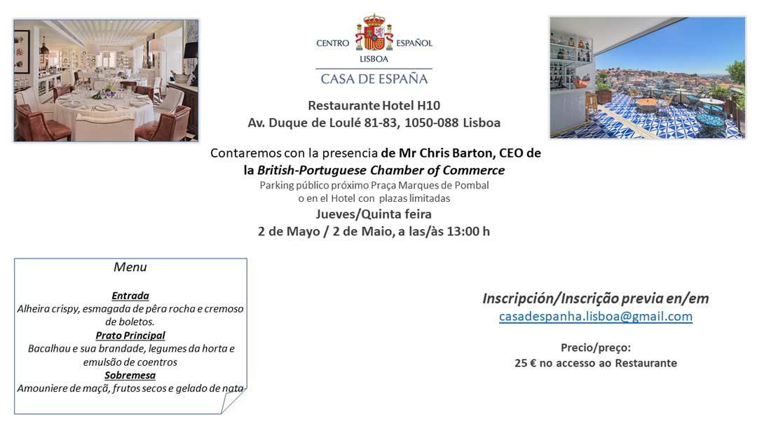 Almuerzo del 2 de Mayo – Casa de España – Restaurante Hotel H10