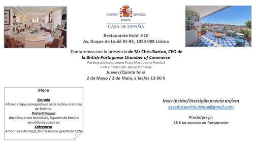 Almuerzo del 4 de Abril - Casa de España - Restaurante Hotel H10