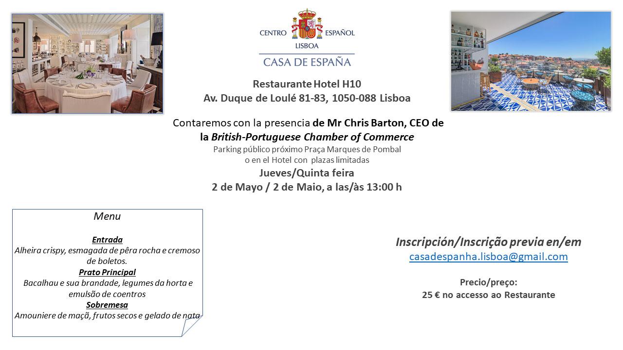 Almuerzo del 2 de Mayo - Casa de España - Restaurante Hotel H10