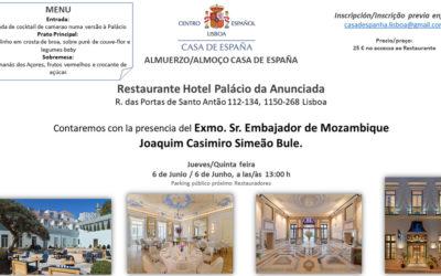 Almuerzo del 6 de Junio – NOVO LUGAR Hotel – Palácio da Anunciada