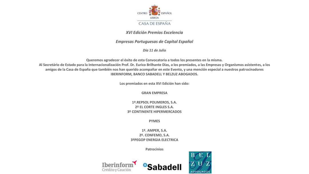 Los premiados en la XVI Edición Premios Excelencia Casa de España 2019 a las mejores empresas Portuguesas de Capital Español