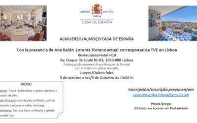 Almuerzo del 3 octubre – Casa de España – Restaurante Hotel H10