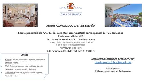 Almuerzo del 3 octubre - Casa de España - Restaurante Hotel H10